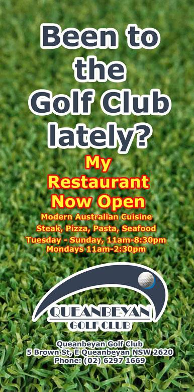 DL flyer for Queanbeyan Golf Club